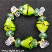 Murano Heart w/ Crystal #10 (All Green)