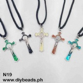 N19 Black Cord Necklace w/ St. Benedict