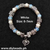 Fresh Water Pearl Bracelet w/ Stone (6-7mm)